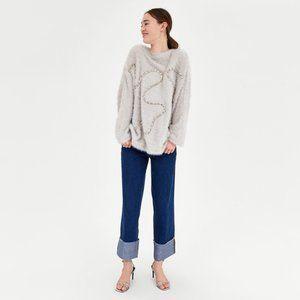 EUC Zara beige fuzzy feel metallic thread rope trim sweater